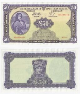 IRELAND Lady Lavery £50 Banknote (1977) Pick ref: 68c - EF.