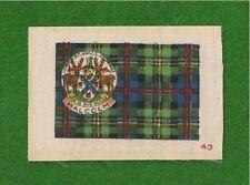 MALCOLM CLAN or MACCALLUM TARTAN Coat of Arms 1922 original printed silk Tartan