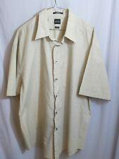 Arrow Beige Men's short Slv Shirt Top Plaid Pocket Wrinkle Free XL
