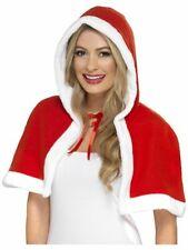 Women's Miss Claus Mini Fancy Dress Cape Christmas Red Ridding Hen Theme Party