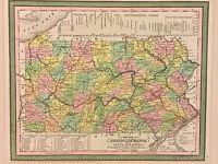 "Antique ""A New Map of Pennsylvania"" 1850 Pub by Thomas Cowperthwait Framed"