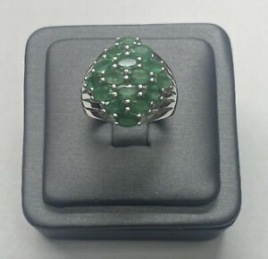 D'Joy Sterling Silver Rhodium Plated Emerald Ring Size 7 1/4 #011