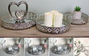 Silver Mirror Base Candle Plate Tealight Holder Round Table Tray Centerpiece New