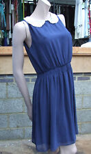 New Look 12 Gorgous Sheer Layer Navy Royal Blue Sleeveles Dress Peter Pan Collar