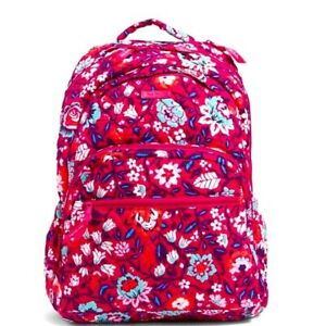 Vera Bradley Signature Cotton Bloom Berry Essential Large Backpack NWT