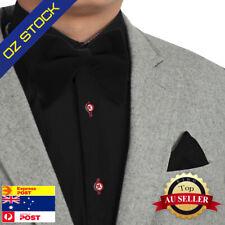 Black Men's Pre-Tied Bow Tie Velvet Bow Tie Matching Hanky Dan Smith C.C.O.S.001