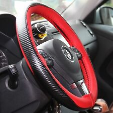 Red+Carbon Fiber PVC Leather DIY Steering Wheel Cover Wrap w/Needle+Thread 47021