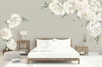 White Peony Rose Flowers Blossom Kid Wall Sticker Home Nursery Decor Baby Decal