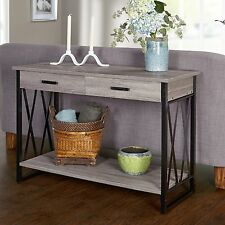 rustic console table gray sofa storage tables hall entry way foyer furniture