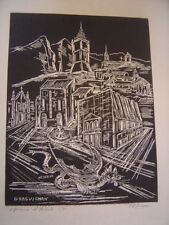 Draguignan Gravure sur bois signée Ph Meyer épreuve d'artiste 5-80 Tarasque