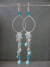Crystals & Sterling Silver Earrings Stunning Long Turquoise Gemstones, Swarovski