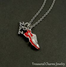 26.2 Marathon Red Running Shoe Necklace - Silver and Red Runner Charm Pendant