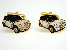 MODERN MINI CAR BADGE CUFFLINKS MENS GOLD TONE NOVELTY GIFT BOX WHITE ENAMEL