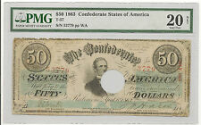 1863 $50 Confederate States Of America Pmg-Vf20 - Priced Right!