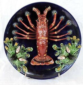 portugese Majolica Wall Plate Lobster Caldas da Rainha Portugal Palissy