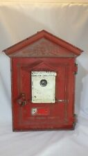 Vintage Red Gamewell Fire Department Alarm Pull Call Box With Key