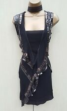 New 10 UK KAREN MILLEN Black Silk Beaded Art Deco Downton Flapper Party Dress