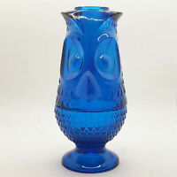 Viking Rare Blue Glass Vintage Owl Shaped Fairy Lamp