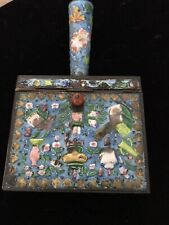 New listing Antique Cloisonne Chinoserie Enameled Brass Chinese Handled Silk Iron Box w/ Lid