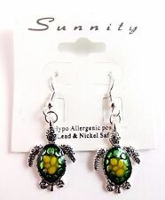 Green turtle dangle earrings hypo allergenic hook fasteners sea life Sunnity