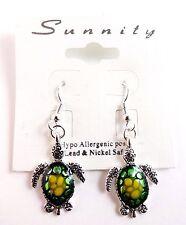 Green turtle dangle earrings hypo allergenic hook fasteners sea life Sunnity