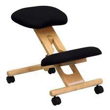 BestMassage Black Wooden Ergonomic Kneeling Posture Office Massage Chair