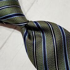 A14) Tasso Elba Olive Green Blue Striped 100% Silk Necktie