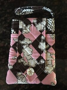 Hand crafted quilted wrist purse- 3 pockets- poodle print- 5.25x7.25- pink/brown