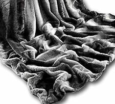 Rabbit Faux Fur Throw Charcoal Super Soft Blanket Warm Sofa Bed 200 x 240cm