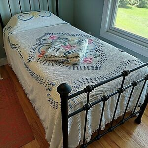 Set 2 Twin Chenille Candlewick Bedspreads 100% Cotton Lightweight NEW Vintage