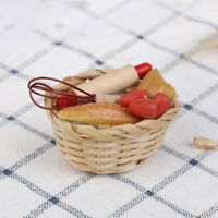Dollhouse miniature food bread with basket kitchen decoration  pretend play t_dr
