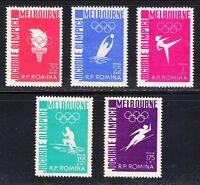 Romania 1956 MNH Mi 1598-1602 Sc 1116-1120 Olympic Games, Melbourne ** Superb