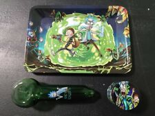 3 piece gift set. ROLLING TRAY, PIPE, HERB TOBACCO GRINDER. fun CARTOON animated