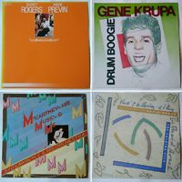 4x jazz LP joblot. Gene Krupa, Shorty Rogers, Andre Previn, David Roach. Swing