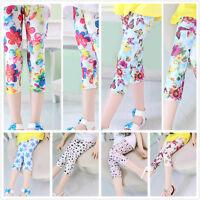 Toddlers Kids Girl Baby Leggings Flower Floral Printed Pants Trousers 5-12Y