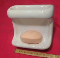 "*Glossy White* Ceramic Soap Dish Tray with washcloth holder/Grab Bar ""New Stock"""