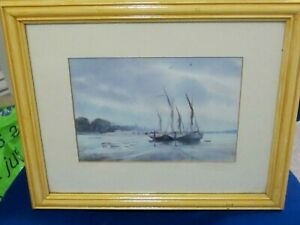 Pin Mill and River Orwell with Barges Print by David Eddington