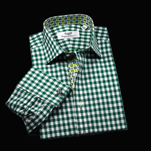 Forest Green Checkered Business Shirt Unique Pattern Lining Boss Formal Dress