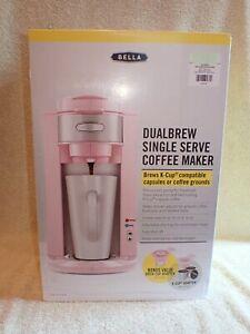 PINK Bella DualBrew Single Serve K Cup COFFEE MAKER MIB NRFB
