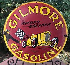 VINTAGE 1993 DATED GILMORE GASOLINE PORCELAIN PUMP SIGN RECORD BREAKER