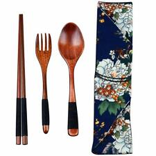 Wooden Chopsticks Spoon Fork Set Japanese Style Tableware Travel with Pouch