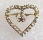 Vintage Masonic Shriner Ladies Heart Pin / Brooch Costume Jewelry