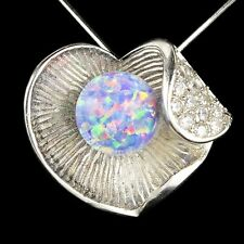 Alducchi Lavender Rainbow lab Fire Opal -CZ 925 Silver Heart Pendant necklace #3