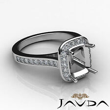 Diamond Engagement Ring 0.70ct Platinum Cushion Shape Semi Mount Halo Pave Set