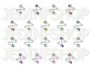 Twisted Bar Spiral Ring | 0.8mm (20g) - 6mm 8mm 10mm 12mm | Double Gem 18 Colour