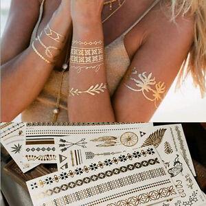 Damen Metallic Flash Tattoos Gold&Silber Schmuck Tattoo Körper Aufkleber Strand
