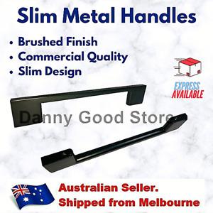 Black Steel Slim Pulls Handles Kitchen Cabinet Cupboard Drawers Door 96/128mm