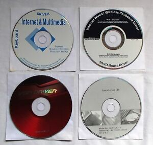 PC Driver CDs x4 for Windows Keyboard Mouse VGA Drivers Vintage Software
