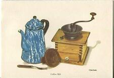 VINTAGE ANTIQUE COFFEE GRINDER BLUE ENAMEL COFFEE POT STAMP MOLD ART CARD PRINT