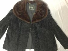 vtg Black Curly Lamb Jacket w brown red Mink Collar D Jimas Fur Coatcape M L Xl